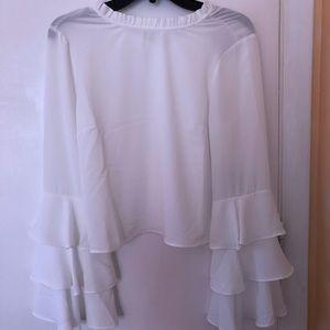 Ruffled sleeve white top